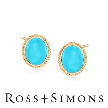 Turquoise Earrings In 14kt Yellow Gold turquoise earrings