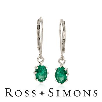 1.60 ct. t.w. Emerald Earrings in 14kt White Gold