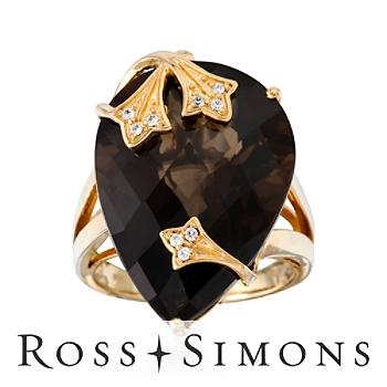 25.00 Carat Smoky Quartz Ring With CZs in Vermeil