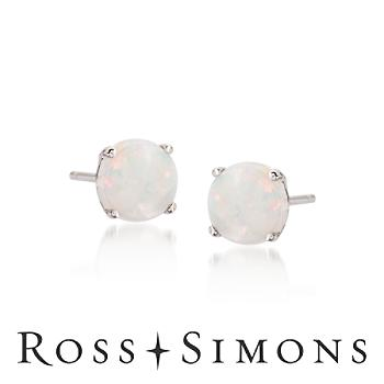Opal Stud Earrings in 14kt White Gold opal stud earrings