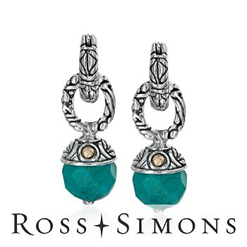 Balinese Turquoise Earrings In Sterling Silver and 18kt Yellow Gold silver turquoise jewelry
