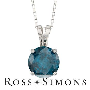 .50 Carat Blue Diamond Pendant Necklace in 14kt White Gold. 18""