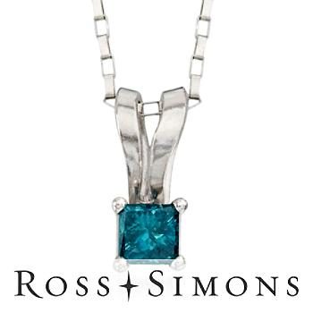 Blue Diamond Pendant Necklace In 14kt White Gold. 18""