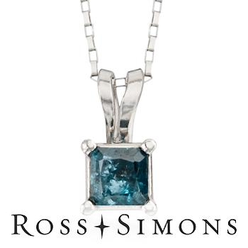 """"".25 Carat Blue Diamond Pendant Necklace In 14kt White Gold. 18"""""""