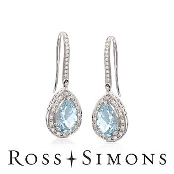 """2.15 ct. t.w. Aquamarine and .15 ct. t.w. Diamond Earrings In 14kt White Gold"""""""