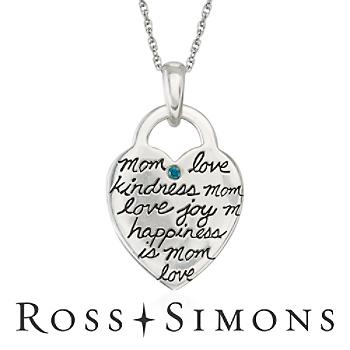 """""Sterling Silver Engraved ""Mom"" Heart Necklace With Blue Diamond. 18"""""""