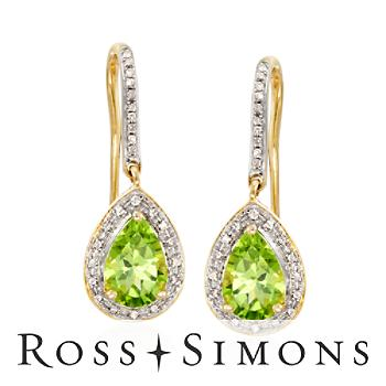 2.60ct t.w. Peridot, .20ct t.w. Diamond Earrings In 14kt Yellow Gold peridot diamond earrings