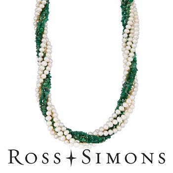Pearl and Emerald Torsade Necklace in 14kt Yellow Gold. 16""