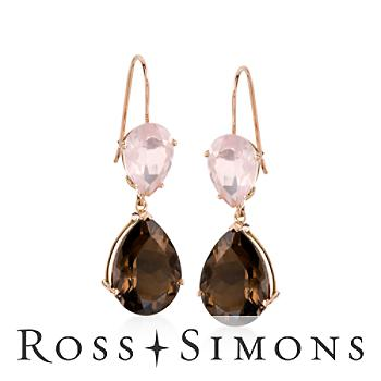 15.00ct t.w. Smoky Quartz, 5.20ct t.w. Rose Quartz Earrings in Gold