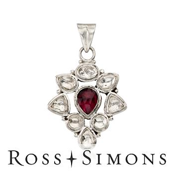 2.30 Carat Rhodolite Garnet and Quartz Pendant In Sterling Silver""
