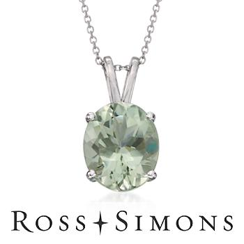 4.00 Carat Green Amethyst Pendant Necklace in Sterling Silver. 18""