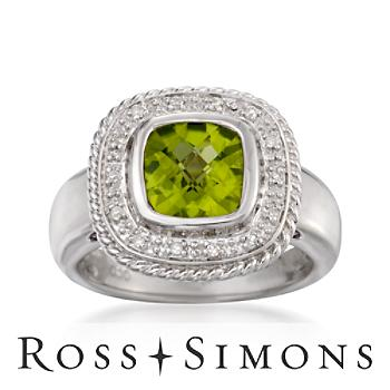 2.00 Carat Peridot Ring With Diamonds in Sterling Silver