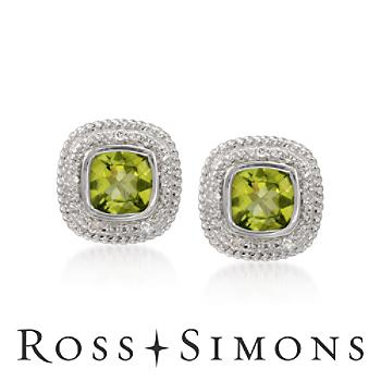 3.05 ct. t.w. Peridot Earrings With Diamonds in Sterling Silver