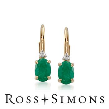 .80ct t.w. Emerald Earrings, Diamonds in Gold. Leverback Earrings