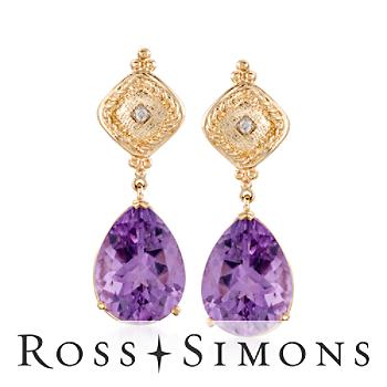 14.00 ct. t.w. Amethyst Earrings With Diamonds In 14kt Yellow Gold february birthstone earrings