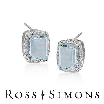 4.75ct t.w. Aquamarine, .30ct t.w. Diamond Earrings. Post Earrings march birthstone earrings
