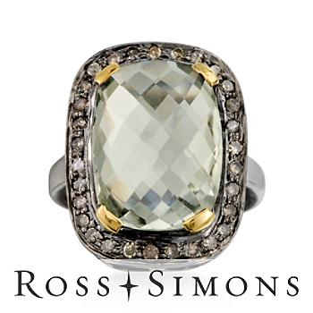 7.00ct Green Amethyst, .55ct t.w. Natural Diamond Ring, Vermeil