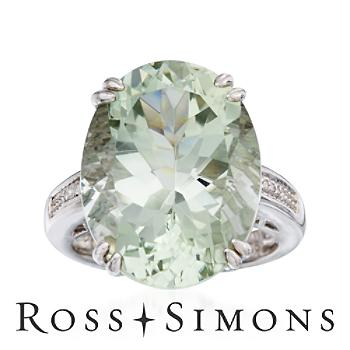 13.50 Carat Green Amethyst Ring With Diamonds in Sterling Silver