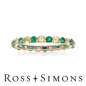 .50ct t.w. Emerald, .80ct t.w. Peridot Eternity Band in Gold peridot eternity band