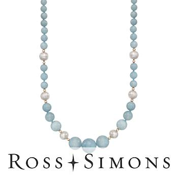 Milky Aquamarine and Pearl Graduated Necklace in 14kt Yellow Gold