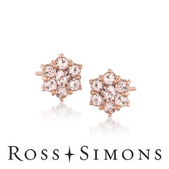 Morganite Floral Earrings in 18kt Rose Gold Over Sterling Silver""