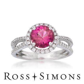 1.70ct Pink Tourmaline, .35ct t.w. Diamond Ring in Gold.