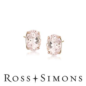 1.40 ct. t.w. Morganite Earrings in 14kt Yellow Gold""