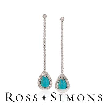Turquoise, Diamond .33ct t.w. Linear Earrings In Silver. Drop Earrings silver turquoise jewelry