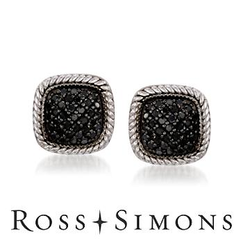 .50 ct. t.w. Black Diamond Earrings In Sterling Silver. Post Earrings black diamond earrings for women