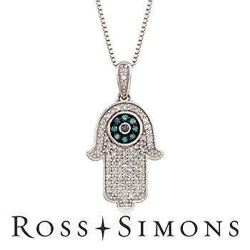.28ct t.w. Blue, Black, White Diamond Hamsa Hand Necklace. 18""