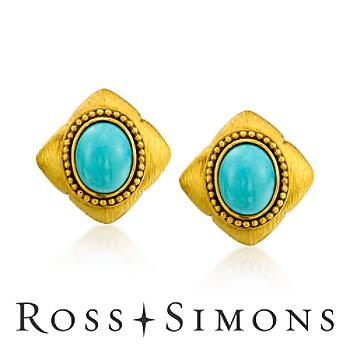 C. 1980 Vintage Turquoise Earrings In 18kt Yellow Gold vintage turquoise jewelry