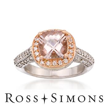 2.00 Carat Morganite and .75 ct. t.w. Diamond Ring in 14kt Two-Tone Gold. Size 6""