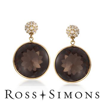 35.00ct t.w. Smoky Quartz, .50ct t.w. Diamond Earrings in Gold