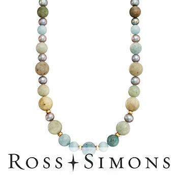 Multicolored Aquamarine, 8-8.5mm Gray Pearl Necklace in Gold