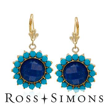 Lapis Turquoise Drop Earrings Gold