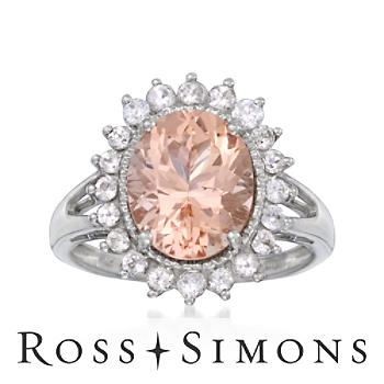 3.35 Carat Morganite and .90 ct. t.w. Zircon Ring In Sterling Silver