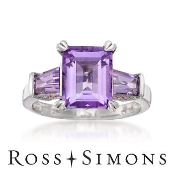 3.95 ct. t.w. Amethyst Ring In Sterling Silver february birthstone rings