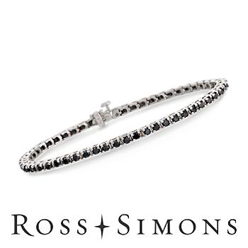 3.00 ct. t.w. Black Diamond Tennis Bracelet in Sterling Silver. 7""