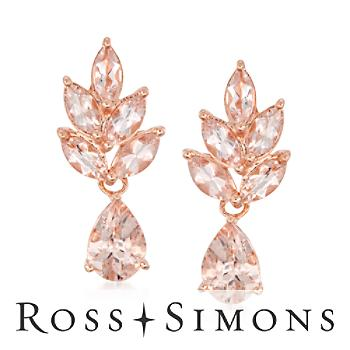 2.40 ct. t.w. Morganite Drop Earrings in Sterling Silver""