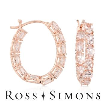 3.35ct t.w. Morganite In-And-Out Hoop Earrings Over Silver. Hoop Earrings