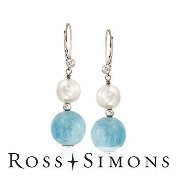 8-8.5mm Pearl and Aquamarine Drop Earrings In Sterling Silver