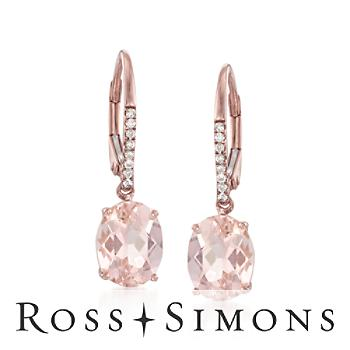 3.50ct t.w. Morganite, .11ct t.w. Diamond Earrings in 14kt Rose Gold