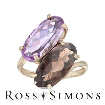 3.60ct Oval Smoky Quartz, 3.70ct Amethyst Statement Ring in Gold