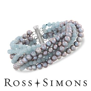 Eight-Strand Milky Aquamarine, Gray Pearl Bracelet in Silver