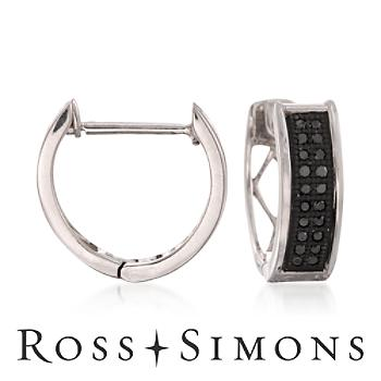 .15 ct. t.w. Black Diamond Hoop Earrings in Sterling Silver