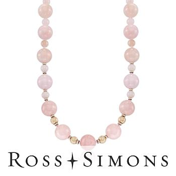 560.00 ct. t.w. Morganite Bead Necklace in 14kt Yellow Gold