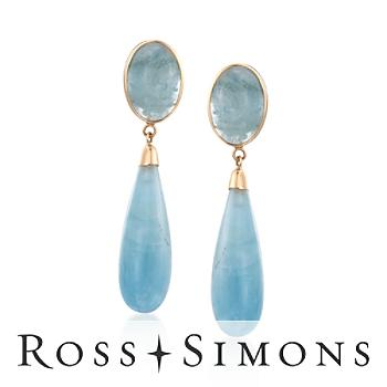 Milky Aquamarine Earrings in 14kt Yellow Gold