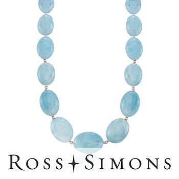 Milky Aquamarine Bead Necklace in 14kt Yellow Gold