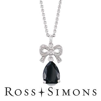 Black Agate, .10ct t.w. Diamond Bow Necklace in Silver. 18