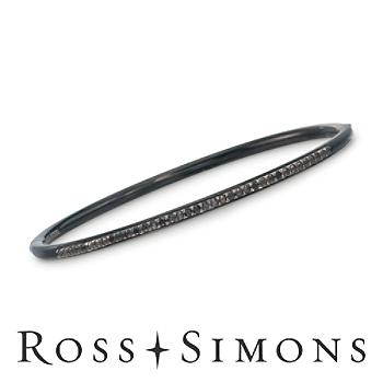.12ct t.w. Black Diamond Bangle Bracelet in Stainless, Silver